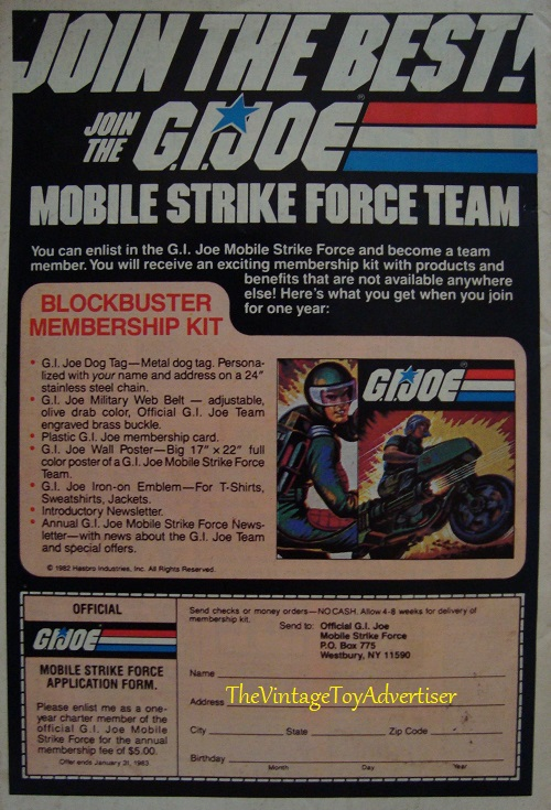 GI Joe blockbuster membership kit Dazzler 18 Marvel us 1982