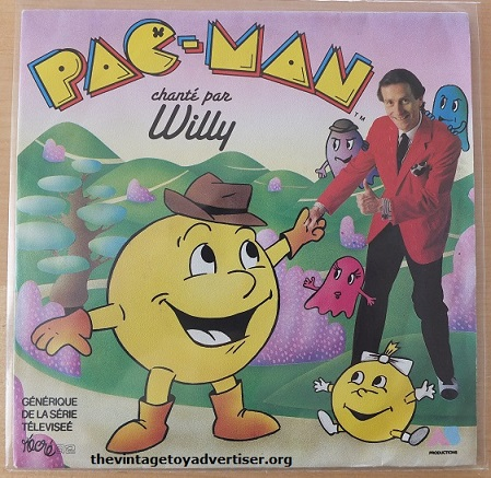 Pac-Man French pressing 7 inch vinyl record, sang by Willy. 1983. Polydor Records.