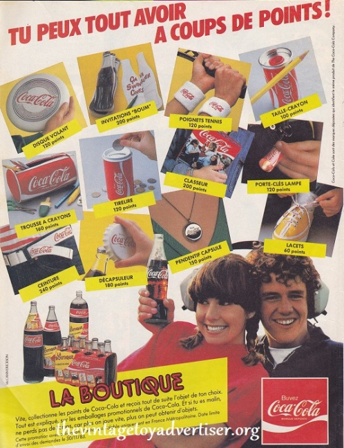 "Another French advert from the eighties... earn points and swap them for prizes with Coca-Cola. Blimey! Look at the size of that bottle-opener for 180 points! It""s almost as big as that frisbee for 120 points!"