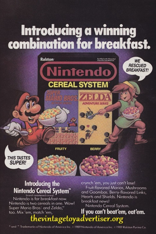 1989 US advert from the pages of Groo... man I loved reading Groo so much! But never mind Groo (or Rufferto), because here is the Super Mario/Zelda winning breakfast combination! (I am the Prince of Chichester)