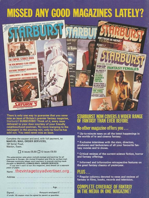 Starbust mag ad Starburst 26 UK 1980