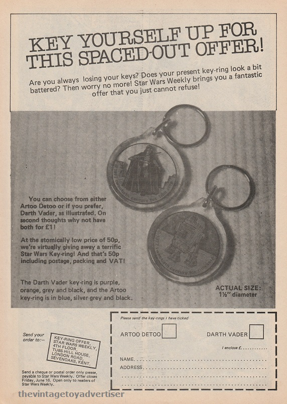 SW Key Rings SWWeekly 1978 UK