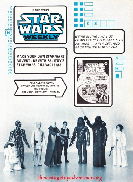 UK. Star Wars Weekly. 1978. Offer to win the first twelve action figures from Palitoy. R2-D2 must have been feeling a little camera-shy... he has his back to the camera.