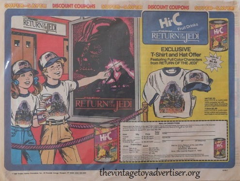 TVTA Hi C fruit drinks advert ROTJ 1983 Sunday Comics Promotions
