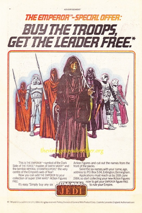 UK Palitoy Emperor figure offer advert, 1984.