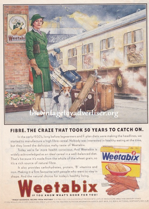 UK. 1987 Weetabix advert from prima magazine. This 1987 advert is styled on the earlier 1930s adverts used by Weetabix.