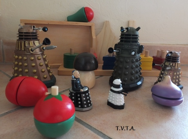 Davros (ranting): together the Daleks and the Wooden Fruit shall rule the universe!!