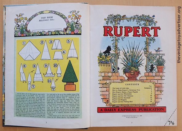 This 1969 edition of Rupert has not been inscribed or dedicated, nor has the price clip been removed - making this copy attracive to collectors.