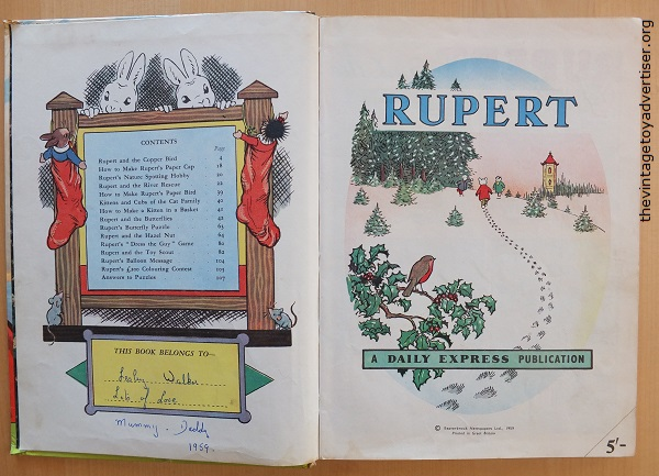 This 1959 edition of Rupert has been inscribed and dedicated. However, The price clip has not been removed.