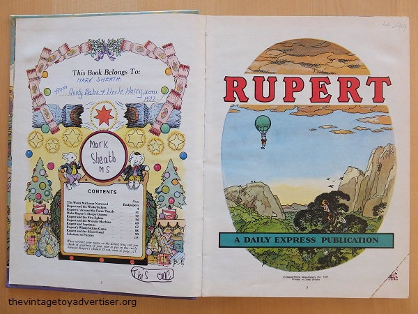 This 1977 edition of Rupert has been inscribed, dedicated and had its price clip removed. In addition, the child owner has added his own writing to the page. In 1977 this book would have cost around £1.