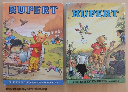 Rupert annuals. 1978 left, 1972 right.