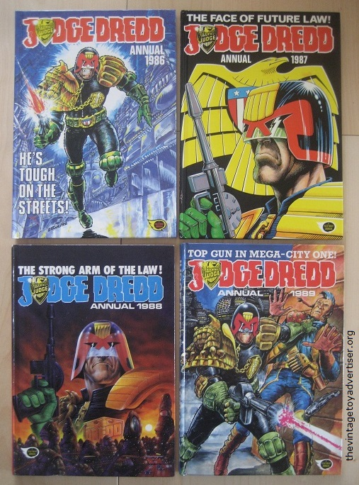 These 1980s Judge Dredd annuals are in excellent condition and have not had their price clips removed.