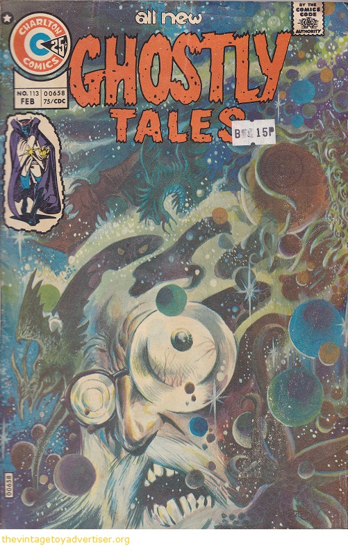 Cover art by Tom Sutton. USA. Charlton Comics. All New Ghostly Tales issue 113, Feb 1975.