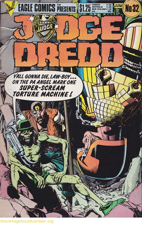 Cover art by Brian Bolland. UK. Eagle Comics. Judge Dredd issue 32. June 1985.