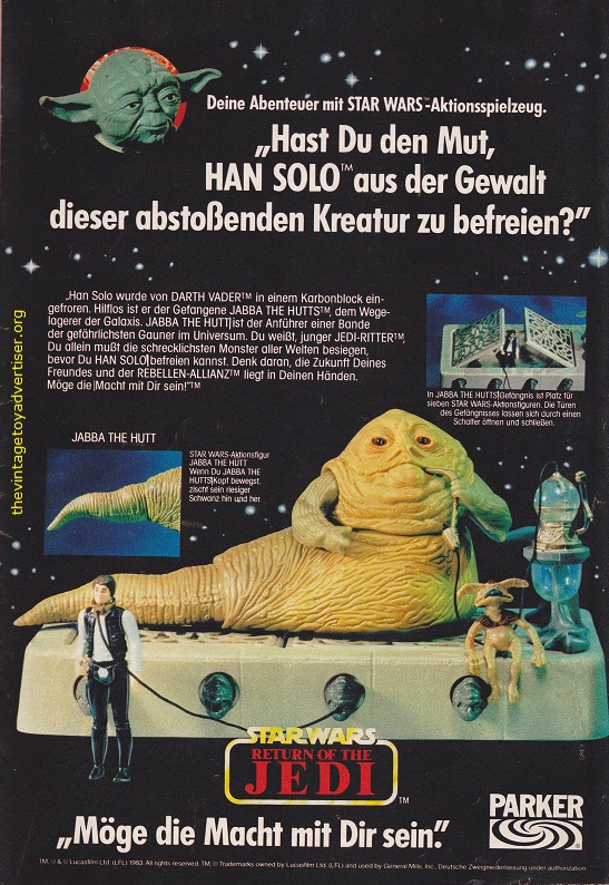 Germany. Fix Und Foxi N° 37. 1984. Kenner didn't make a 'Slave Leia' figure so Parker decided it would be fun for Jabba to chain up Han Solo!