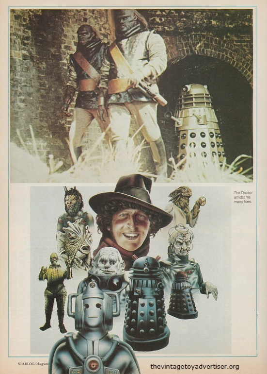 Artwork piece: The Doctor and his many foes - from Starlog 37, 1980.