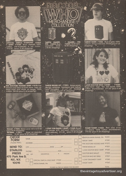 And more Doctor Who merchandise. How can you not fail to look cool in these tee shirts? USA. Starlog N° 93. April 1985.
