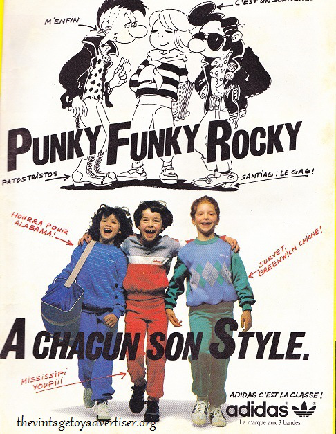Don't want to join the Elefanten kids much? Okay, how about the Punly Funky Rocky kids and their Adidas style? France. Pif Gadget N° 738. 1983.