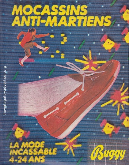 Kick the living crap out of space invaders and aliens with these stylish moccasins from Buggy! France. Pif Gadget N° 652. 1981.