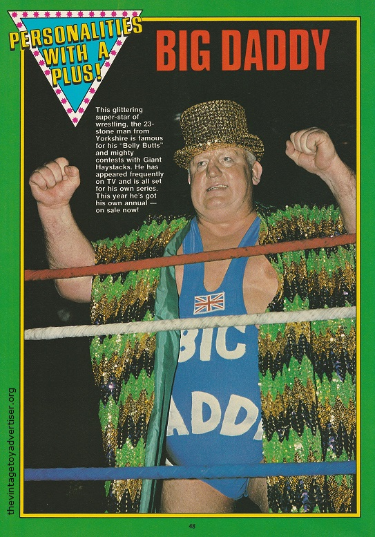 "Big Daddy as featured in 'Personalities With A Push'. The popular 6' 6"" tall, 26 stone wrestler went by the ring name of Big Daddy. His real name was Shirley Crabtree."