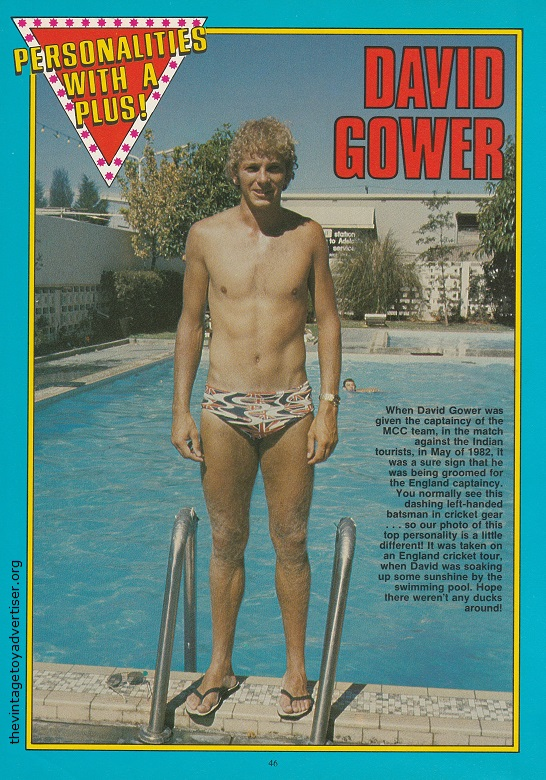 Owzat? Yikes David, put your pants back on! David Gower as featured in 'Personalities With A Push'.