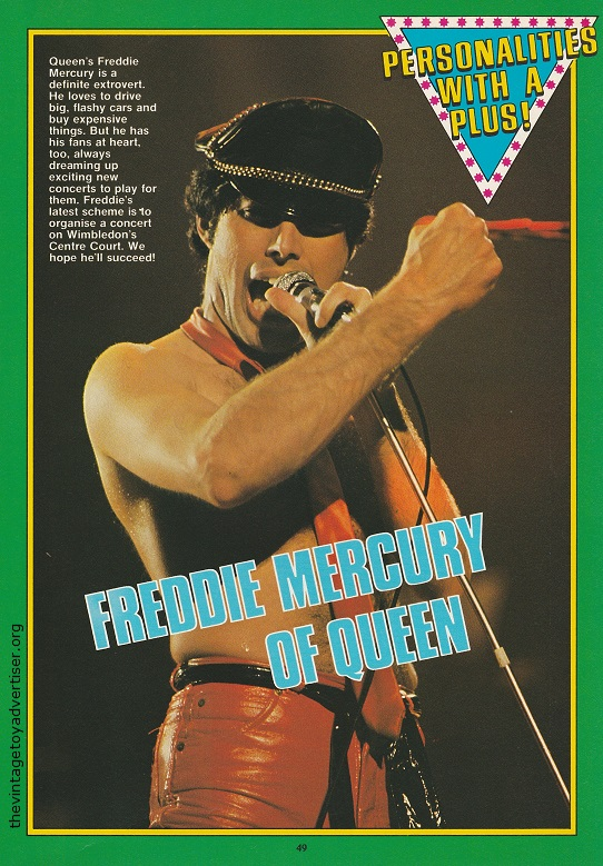 Queen frontman Freddie Mercury as featured in 'Personalities With a Push'.