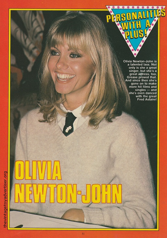 Singer and actress Olivia Newton-John as featured in 'Personalities With A Plus!'.