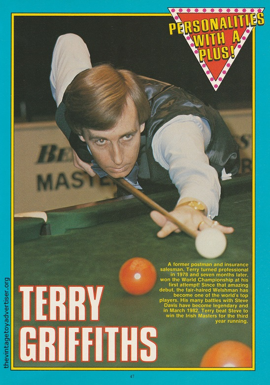 Welsk snooker star Terry Griffiths as featured in 'Personalities With A Plus!'.