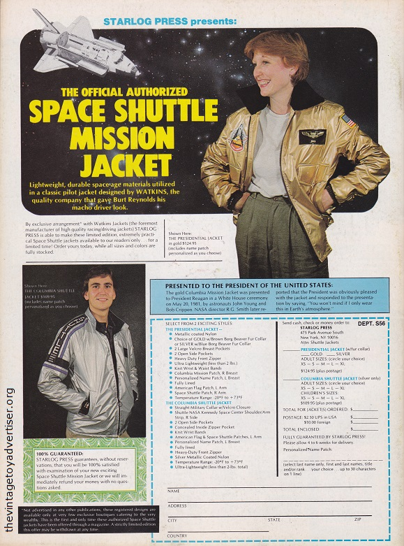 And finally, how about a Space Shuttle Mission Jacket from 1982? USA. Starlog N° 56. 1982.
