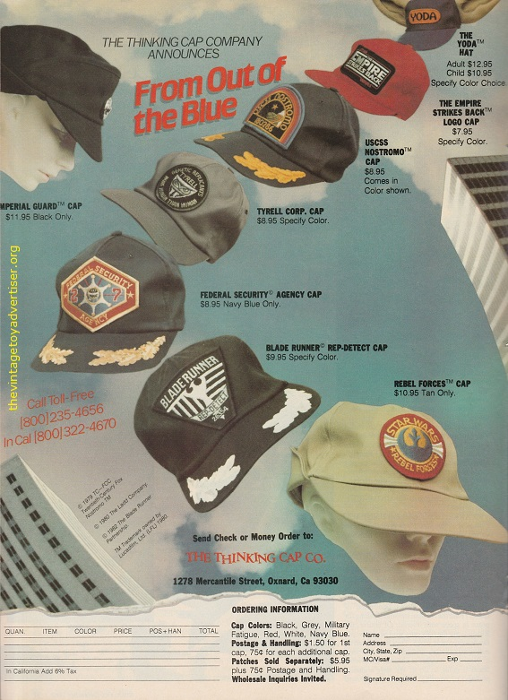 Get your thinking cap on! Sci-fi logos galore (mostly Star Wars) on these great caps and hats from the Thinking cap Company. USA. Starlog N° 65. December 1982.