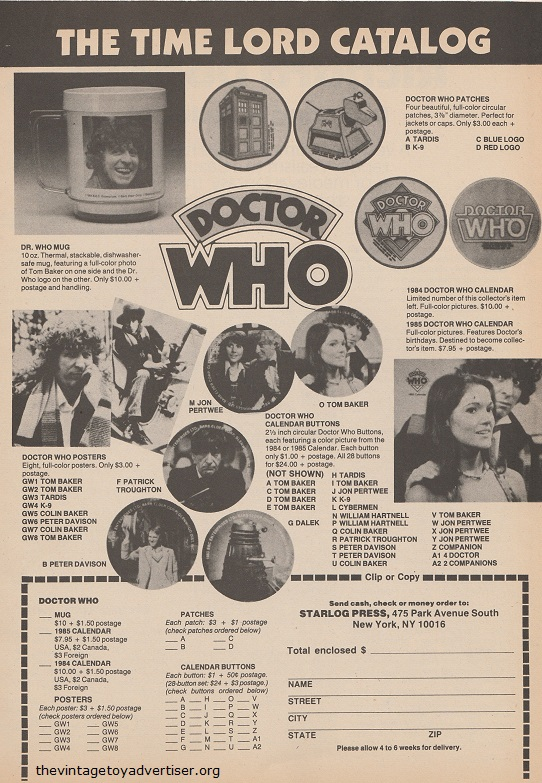 Stare at Tom baker's cheery face as your new Doctor Who mug approaches your mouth... and other DW merchandise from the Doctor Who catalog. USA. Starlog N° 93. April 1985.