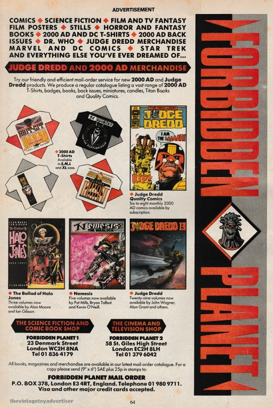 Forbidden Planet 2000 ad scifispecial 1987 post