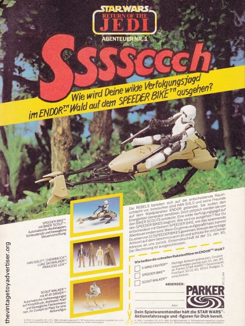 Germany. Star Wars N° 1. 1985. Is the 'Ssssccch' sound being made by the Speeder Bike or cleverly hidden Ewoks about to spring a surprise?