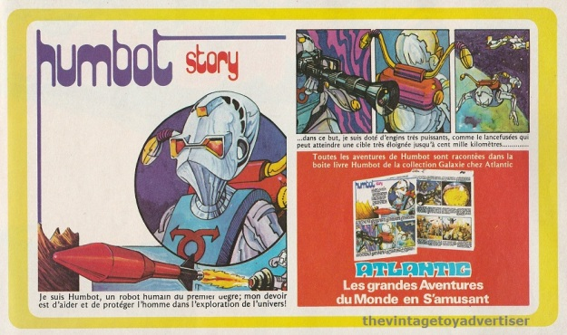 France. Pif Gadget. 1979. Advert for Humbot Story, collectable story books feauring the character Humbot from the Galaxy series of figures.