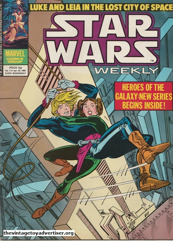 Star Wars Weekly N° 114. Apr 30. 1980. Echoing Luke and Leis's famous grapple-hook swing to safety in the original Star Wars film, this cover bt Infantino and Day sees the Skywalker siblings hanging on a wire in the Lost City of Space.