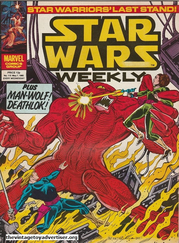 Star Wars Weekly N° 115. May 07. 1980. The follow-up to issue 114 sees Luke and Leia battling the . This cool cover is by Infantino and Day.