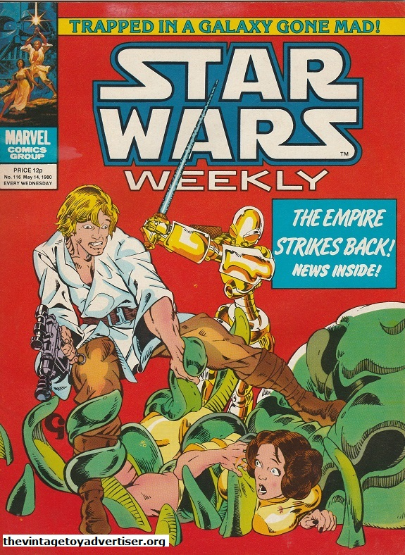 Star Wars Weekly N° 116. May 14. 1980.  Luke and Leia find themselves in an organic mess. Artwork credited to Michael Golden and Terry Austin.