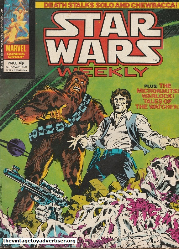 Star Wars Weekly N° 65. May 23. 1978. Artwork by Frank Springer. A somewhat grisly cover! Judging by the expressions on the faces of Han and Chewie I think they agree.