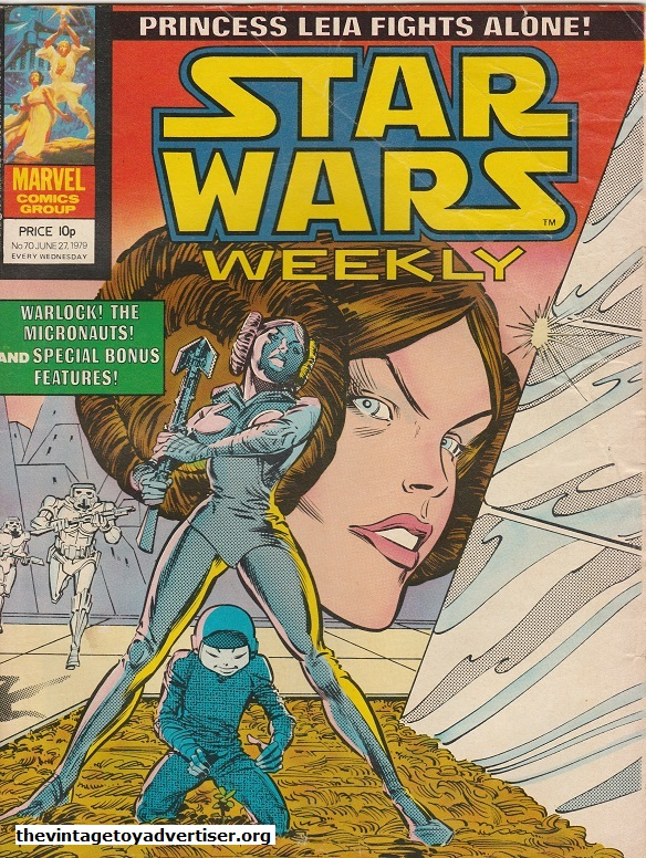 Star Wars Weekly N° 70. June 27. 1979. This cover is credited to Carmine Infantelo and Gene Day and features two great images of Princess Leia.