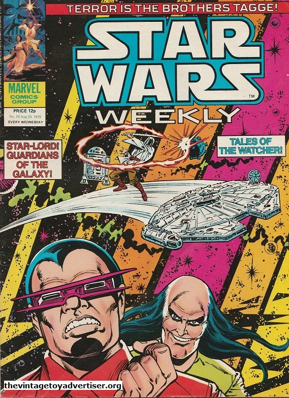 Star Wars Weekly N° 79. Aug 29. 1979. I like the 'psychedelic' feel to this cover featuring Luke, R2-D2 and the Millenium Falcon in the background and the sinister brothers Tagge in the foreground. This is another Infantino / Day cover.