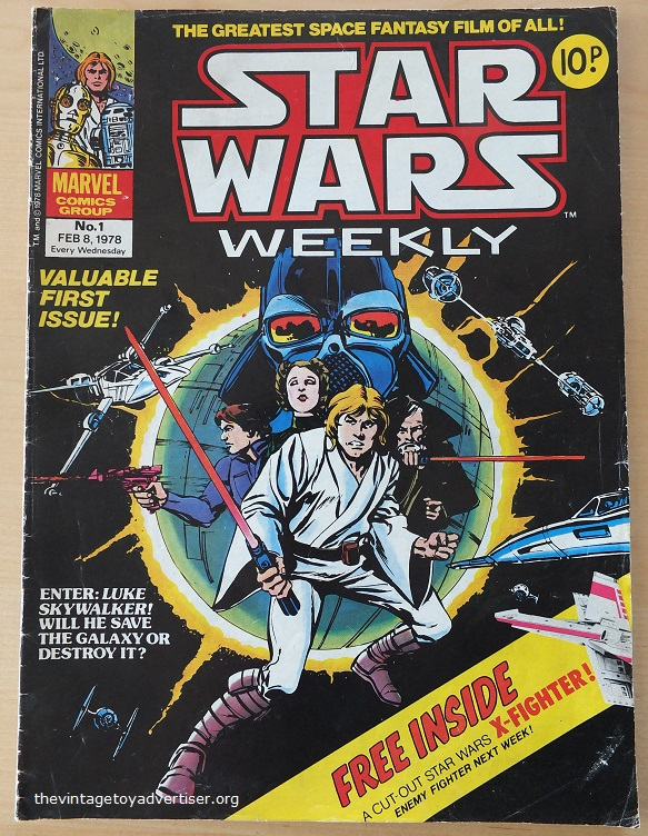 Star Wars Weekly N° 1. February 8th 1978. Marvel UK. Artwork by Howard Chaykin and Tom Palmer. The issue included a free cut-out X-Wing Fighter.