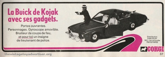 Kojak's action-packed Buick by Corgi. France. Pif Gadget. 1977.
