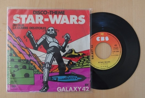 Star Wars Disco Theme - Galaxy 42. French pressing. CBS. 1977. The cover of this 7 inch single is inspired by a 1934 UK science fiction comic/magazine called Scoops.
