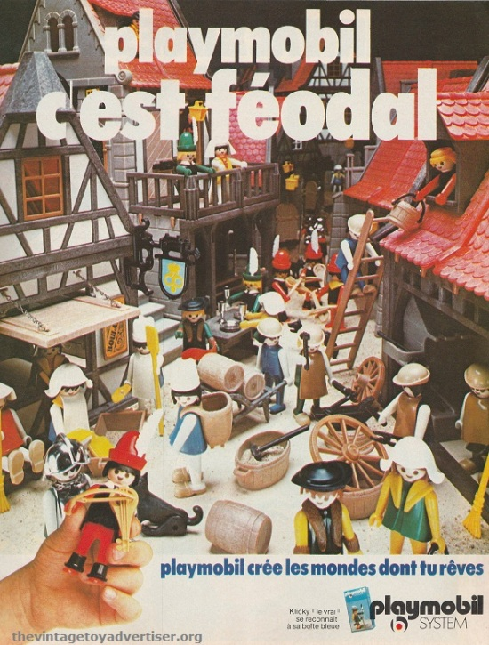 Create your own medieval world with Playmo. France. Pif Gadget. 1978.