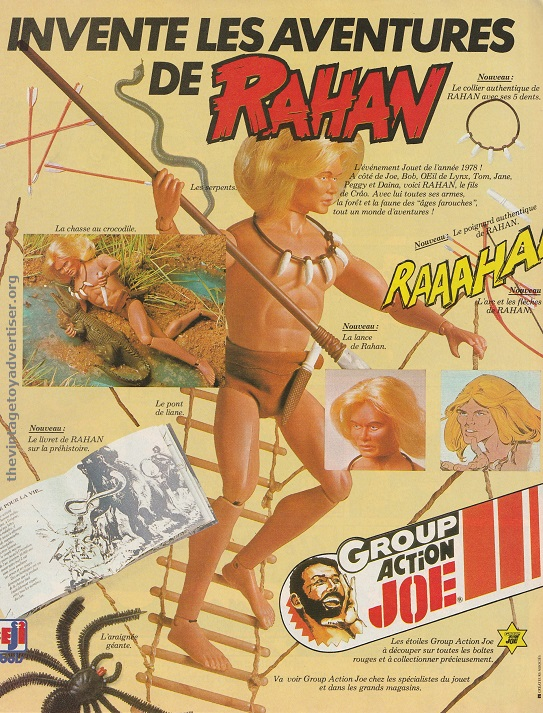 Pif Gadget comic character, Rahan, even gets his own action figure courtesy of Group Action Joe - he French version of Action Man! France. PIf Gadget. 1978.