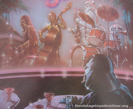 The cover art features a fantastic stage lineup of Chewie on keys, 3P0 on double-bass, a Stormie on sax, and R2 rocking the drums! Vader seems to be enjoying the show so far... he doesn't appear to have force-choked anyone yet.