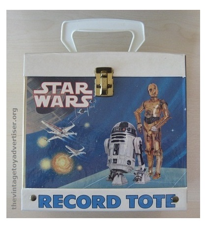 """In 1982, Disneyland Vista Records in the US produced a Star Wars record tote. This box was ideal for storing the many 7"""" vinyl Read-Along storybook and record sets that were being produced at the time."""