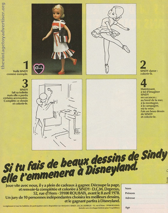 Sindy Disneyland drawing competition. France. Pif Gadget. 1978.