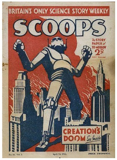 Here's a pic of that 1934 Scoops cover. Artist unknown.