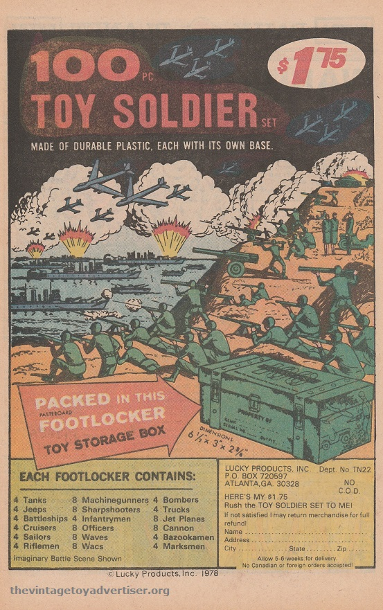 US. Weird War Tales. 1978. This variant of the Lucky Products ad appeared four years later and shows a price increase as well as change of address.